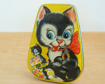 Vintage Cat Candy Tin • Good Luck Cat England Toffee Tin • Horner Toffee Tin