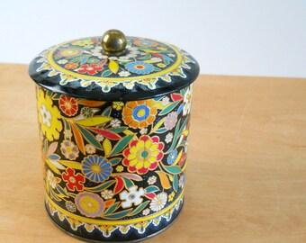 Vintage Tin Black Floral • Daher Tin Made in England • Vintage Floral Tin with Lid