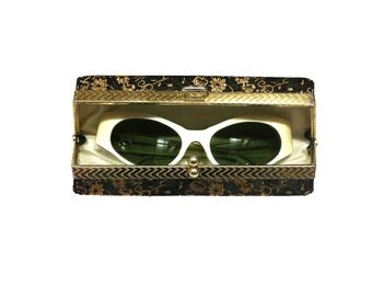 1950s French Cats Eye Sunglasses Pearlized & Green Shades, Vintage Fashion, Retro Drama Queen
