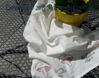 Frog flour sack kitchen towel (hand printed)