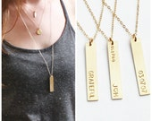 Long Vertical Gold Bar necklace, Personalized Necklace, Personalized Vertical Bar Necklace, Gold Bar Necklace, Gold Personalized Necklace