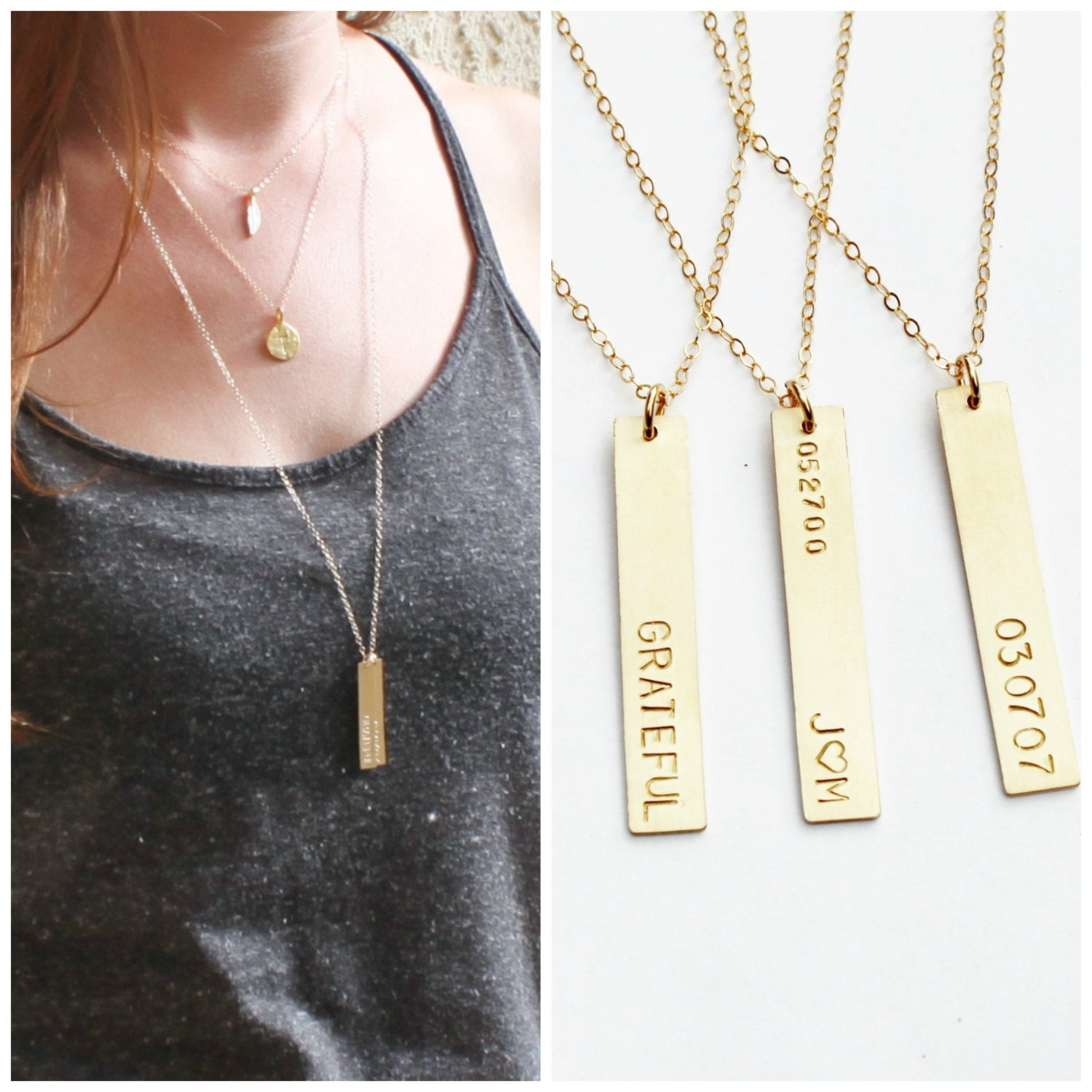 Long Vertical Gold Bar Necklace Personalized Necklace