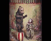 The Trained Bear, Print, Bear Costume, Mask, Circus, Clown, Child, Surreal, Fairy Tale, Folk Tale, Animal, Performer, Sideshow, Pierrot
