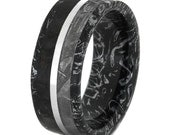 Dinosaur Bone and Gibeon Meteorite Wedding Band for Her with Black and White Mokume Sleeve and Palladium Pinstripe, Rare and Unique