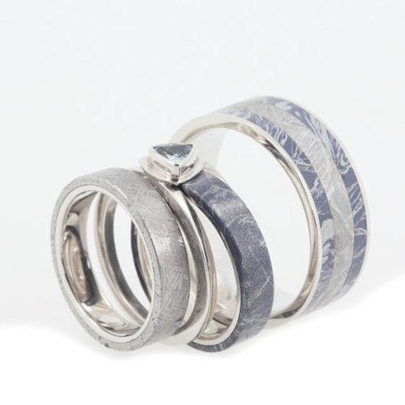 Items Similar To Platinum Wedding Band Set With Bezel Set Blue Topaz Mokume Gane And Meteorite