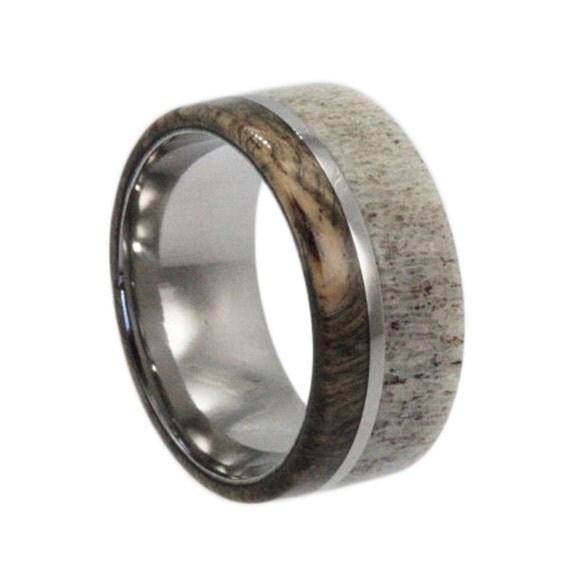 Mens Wedding Band, Titanium Ring With Buck Eye Burl, Deer Antler Ring, Wood Wedding Band