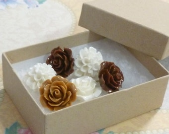 Vanilla and Chocolate Decorative Resin Rose and Chrysanthemum Flower Cabochon Push Pin Thumb Tacks - White and Brown Rose Flower Tacks