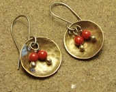 Red Coral Brass Hammered Round Disc Sterling Silver Dangle Earring