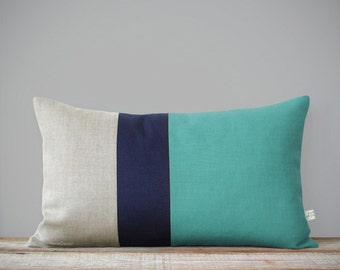Mint Colorblock Pillow Cover (12x20) Lumbar - Navy and Natural Linen Stripes by JillianReneDecor - Mid-Century Modern Home Decor