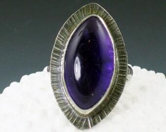 Amethyst Marquise Ring, purple amethyst ring, amethyst, large ring, size 6 ring, boho ring, big ring, statement ring, purple silver, ring