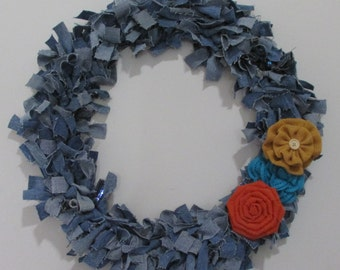 Upcycled Round Circular Denim Rag Wreath