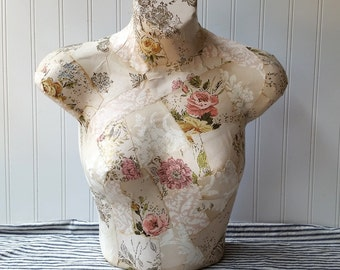 Mannequin torso display mixed media collage vintage pink cream rose wallpaper one of a kind can sit or hang Cottage Chic