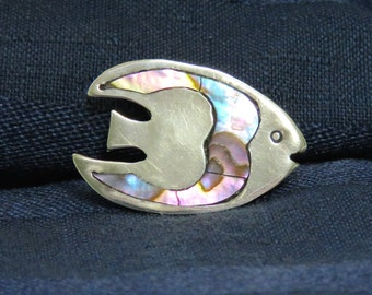 SALE Vintage Sterling Silver Angel Fish Brooch Pin, Mexican 925 Abalone MOP Inlaid