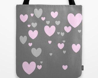Grey Pink Heart Tote Bag, 13x13, 16x16, 18x18, Heart Tote, Beach Tote, Modern Tote, Market Tote, Contemporary Tote, Teen Tote, Love Tote Bag
