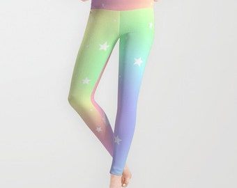 Rainbow Leggings, Star Pastel Yoga Pants, Unique Fashion, Stars Yoga Leggings, Women, Teen Active Wear, Running Pants, Jogging Pants,Surf