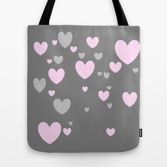 Grey Pink Heart Tote Bag, 13x13, 16x16, 18x18, Heart Tote, Beach Tote, Modern Tote, Market Tote, Contemporary Tote, Teen Tote, Love Tote Bag