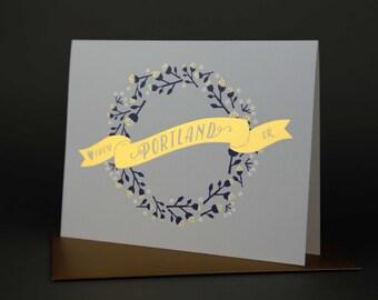 Wreath PORTLAND Gold Foil Love card