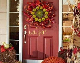 Hello fall Front Door Welcome Custom Vinyl letters Decal Wall art Words