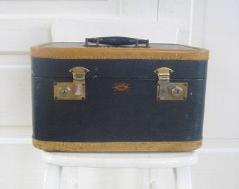 Vintage Black Train Case, Blue Suitcase, Vintage Luggage, Retro Storage