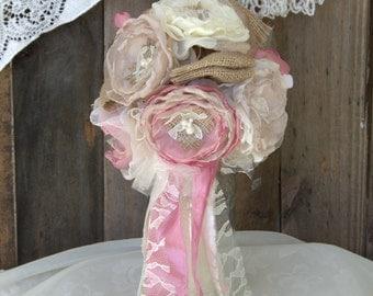 Burlap Bridal Bouquet,Dusty rose bouquet, wedding flowers, fabric flower bouquets , wedding bouquet, alternative, Burlap Wedding, Rustic