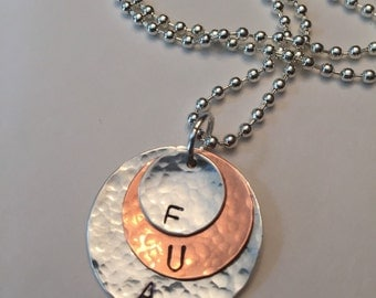 """Hand stamped FUA autism warrior battle cry! 3 stamped discs (1"""",3/4"""", 1/2"""")"""