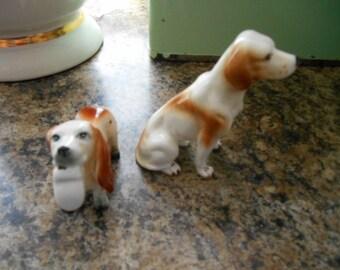 Set of 2 vintage porcelain dog figurines