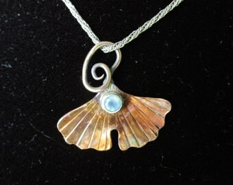 Bronze Ginkgo Leaf and Blue Chalcedony Brutalist Pendant