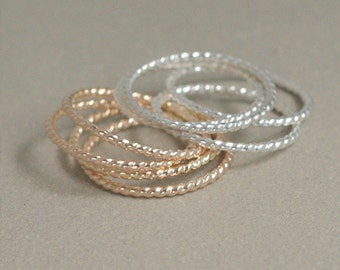GOLD or SILVER stacking ring. ONE stacking rope ring. dainty twist ring. super skinny slim. 14k gold fill or sterling silver stack ring.