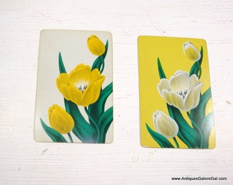 Vintage Playing Cards, Flowers, Yellow, Paper Crafting, Scrapbook, Set of Two  (761-15)