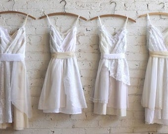 Custom Ivory, Cream, & White Bridesmaids Dresses