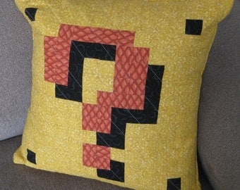 Item Block Quilted Pillow Cover - yellow swirls BG - free USA shipping