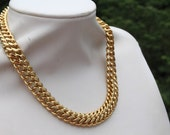 Monet Double Curb Gold Necklace.