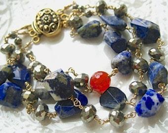 Lapis and Carnelian Bracelet Multi Strand Bracelet-Nefertiti
