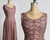 ON SALE Mid Century Pink & Black Dress