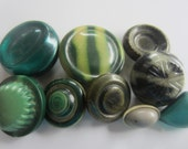 Vintage Buttons - Lot of 9 assorted green novelty, light weight celluloid, novelty 30's-40's Retro, (aug 345))