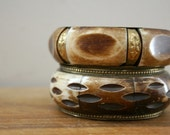 vintage 70s Pair of Chunky Dyed Bone & Brass Bangle Bracelets // Gypsy Boho Chic