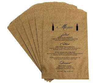 Rustic Wedding Menu Favor Bags - Vintage Antique Victorian French Country Rustic Vineyard Wine Bottle Wedding Menu Favor Bags Treat Bags