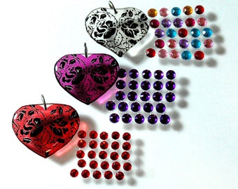 DIY Mini Jewelry Making Kits Heart Trio Simple Easy Fast Hand Poured Resin Acrylic Pendant You Design the Bling Perfect for Kids Crafts D2