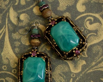 Costume Envy-Antique Vintage Costume Jewelry Assemblage Earrings