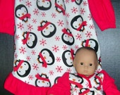 Matching flannel nightgowns winter penguins ..size 2/3 FREE SHIPPING