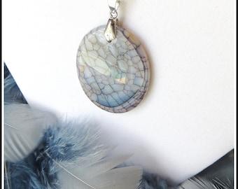 Gorgeous Dragon Veins Agate Stone Pendant Necklace - Light Grey & Dark Grey - Spider Web Gemstone Fashion Jewelry for Women