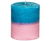 Hawaiian Breeze Plumeria Scented Duotone Pillar Candle - Blue and Pink