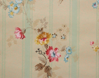 1920's Antique Vintage Wallpaper Bouquets on Green Stripe--Made in Canada