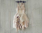 SWEETHEART Dress in White Cream Ecru Pink Blush and Tea Stain Lace