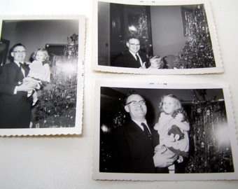3 Vintage Black+White Photos-Little Girl With PaPa-New Doll+Christmas Tree-1958