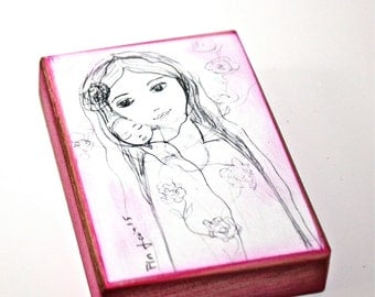 Mother with Newborn - ACEO Giclee print reproduction mounted on Wood (2.5 x 3.5 inches) Folk Art  by FLOR LARIOS