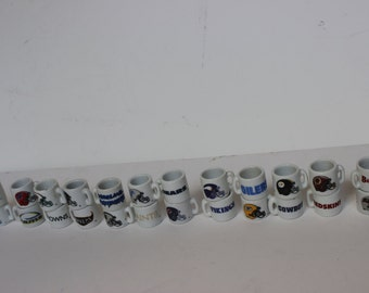 Vintage NFL Mugs Small Tiny Bubblegum Machine Prizes Set of 24 Porcelan Instant Collection