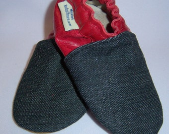 toddler LEATHER moccasins, denim and red leather shoes -softsoulbabyshoes SHOE sale - red leather and denim
