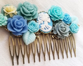 Blue and Grey Skeletina Cluster Hair Comb - Fascinator Kitschy Cool Pink Offbeat Wedding Bride Skull
