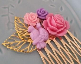 Purple PInk Love Birds Small Cluster Hair Comb - Fascinator Kitschy Cool Offbeat Wedding Bride Bird Animal